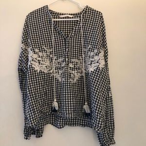 Zara gingham embroidered blouse